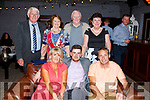 KEY OF  THE DOOR: Jordan Bowler celebrating his 21st birthday in Benner's Hotel on Saturday night, with family and friends, pictured front with l-r: Johnny O'Donnell, Sheila, Mary, Jordan and Mike Bowler, Irene and Sean O'Donnell and Sonya Bowler.