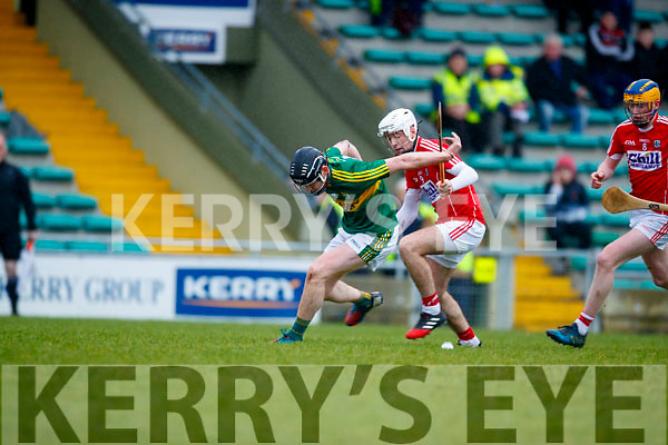 Brandon Barrett Kerry  in action against Conor Cahalane Cork in the Co-op Superstores Munster Senior Hurling League on Sunday 14th January in Austin Stack Park, Tralee.