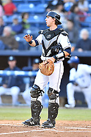Asheville Tourists catcher Robbie Perkins (23) during a game against the Rome Braves at McCormick Field on April 17, 2018 in Asheville, North Carolina. The Tourists defeated the Braves 1-0. (Tony Farlow/Four Seam Images)