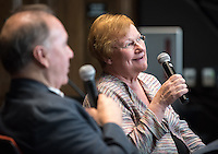 Tarja Halonen, former first woman President and Foreign Minister of Finland, has a conversation with Derek Shearer about world topics, Oct. 19, 2015 in Choi Auditorium.<br /> (Photo by Marc Campos, Occidental College Photographer)