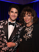 BEVERLY HILLS - JANUARY 6: Darren Criss and Joan Collins attend the 2019 Fox Nominee Party for the 76th Annual Golden Globe Awards at the Fox Terrace on the Roof Deck of the Beverly Hilton on January 6, 2019, in Beverly Hills, California. (Photo by Frank Micelotta/Fox/PictureGroup)