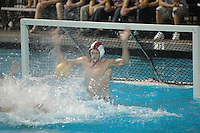 Saturday,November 22 2008.  Coronado High Goalie stops a shot from Bishops High on the line.  Bishops High School of La Jolla defeated Coronado High 4 to 3 for the CIF Division II Boys Water Polo Title.