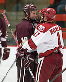 Kevin McNamara (Colgate - 10), Daniel Moriarty (Harvard - 11) - The Harvard University Crimson defeated the visiting Colgate University Raiders 4-2 on Saturday, November 12, 2011, at Bright Hockey Center in Cambridge, Massachusetts.