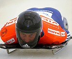 14 December 2007: Adam Pengilly, racing for Great Britain, starts his first run at the FIBT World Cup Skeleton Competition at the Olympic Sports Complex on Mount Van Hovenberg, at Lake Placid, New York, USA...Mandatory Photo Credit: Ed Wolfstein Photo