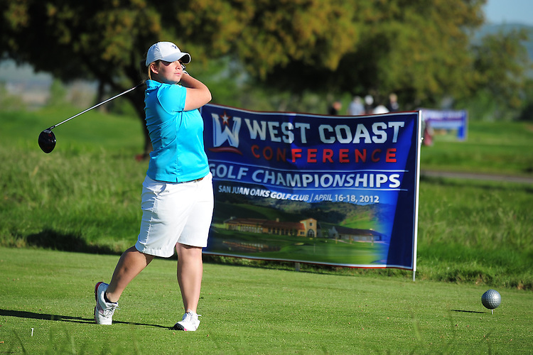 April 17, 2012; Hollister, CA, USA; BYU Cougars golfer Amanda Keith during the WCC Golf Championships at San Juan Oaks Golf Club.