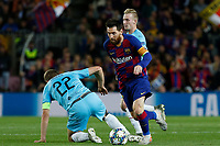 5th November 2019; Camp Nou, Barcelona, Catalonia, Spain; UEFA Champions League Football, Barcelona versus Slavia Prague;  Leo Messi confuses Soucek and goes past the challenge - Editorial Use