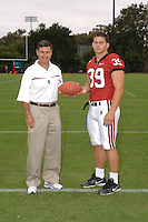 7 August 2006: Stanford Cardinal head coach Walt Harris and Nick Frank during Stanford Football's Team Photo Day at Stanford Football's Practice Field in Stanford, CA.