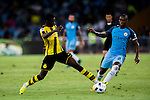Borussia Dortmund striker Ousmane Dembele (l) trips up with Manchester City midfielder Fernandinho Roza (r) during the 2016 International Champions Cup China match at the Shenzhen Stadium on 28 July 2016 in Shenzhen, China. Photo by Marcio Machado / Power Sport Images