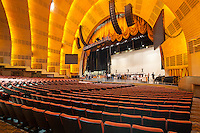 Workers prepare for a show in Radio City Music Hall in New York City
