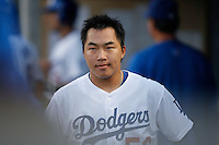 Hong-Chih Kuo of the Los Angeles Dodgers during a 2007 MLB season game at Dodger Stadium in Los Angeles, California. (Larry Goren/Four Seam Images)
