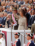 Spanish Royals Juan Carlos (l) and Sofia greets during a military parade marking the Armed Forces Day on June 2, 2012 in Valladolid.(ALTERPHOTOS/Acero)