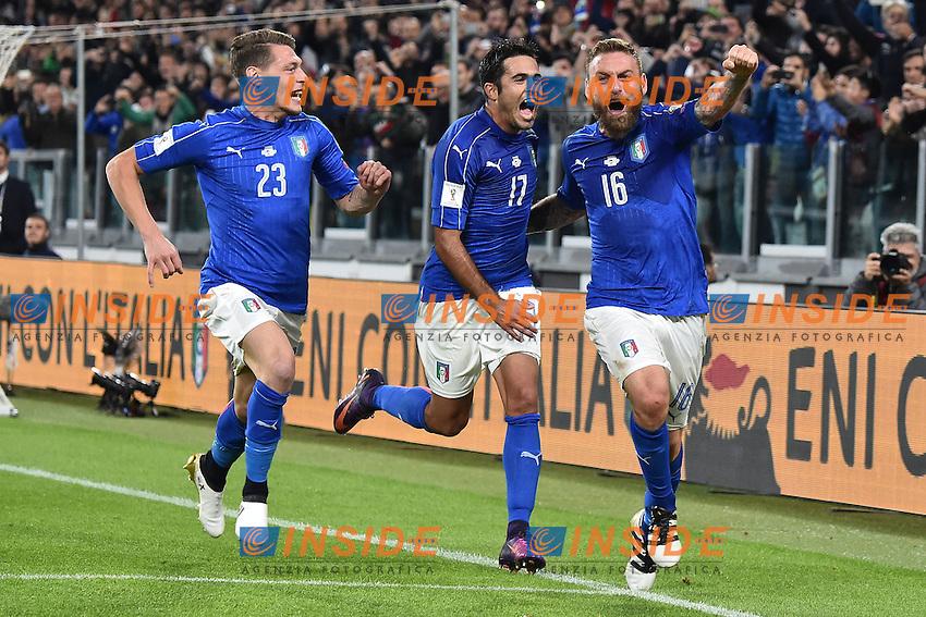 Esultanza Gol Daniele De Rossi Italia 1-1 Goal celebration with Andrea Belotti, Eder  <br /> Torino 06-10-2016 Juventus Stadium <br /> World Cup Qualifiers Italy - Spain / Italia - Spagna. Foto Andrea Staccioli / Insidefoto
