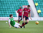4th November 2017, Easter Road, Edinburgh, Scotland; Scottish Premiership football, Hibernian versus Dundee; Hibernian's Lewis Stevenson tackles Dundee's Cammy Kerr