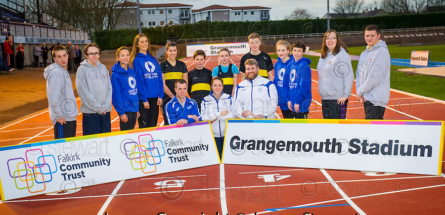 Young athletes from Falkirk Victoria Harriers and Forth Valley Flyers with Commonwealth Games Athletes Grant Plenderleith, Jade Nimmo and Andrew Frost  at Grangemouth Stadium to try out the new track made up of available track material used at the Commonwealth Games in Hampden Park. <br /> <br /> <br /> <br /> <br /> 25/11/2014   Copyright  Pic : James Stewart<br /> jsp003_gmouth_trac  <br /> James Stewart Photography 19 Carronlea Drive, Falkirk. FK2 8DN  <br /> Vat Reg No. 607 6932 25  <br /> Tel: +44 (0)7721 416997  <br /> E-mail  :  jim@jspa.co.uk  <br /> If you require further information then contact Jim Stewart on any of the numbers above.
