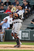 Detroit TIgers catcher Gerald Laird (12) during a game vs. the Chicago White Sox at U.S. Cellular Field in Chicago, Illinois August 13, 2010.   Chicago defeated Detroit 8-4.  Photo By Mike Janes/Four Seam Images