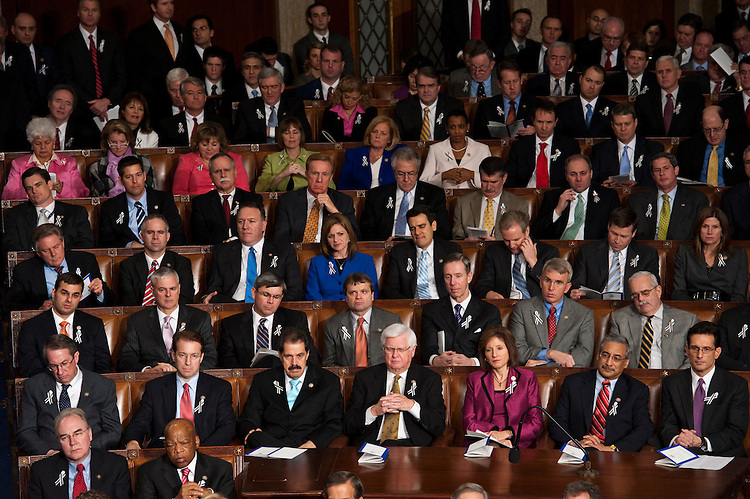 WASHINGTON, DC- Jan. 25: Members of each party sit mixed during President Barack Obama's State of the Union address to a joint session of the U.S. Congress. In the wake of the Jan. 8 shootings in Tucson, Ariz., that wounded Rep. Gabrielle Giffords (D-Ariz.), there has been a push for lawmakers to break from the tradition of partisan seating at the State of Union address. (Photo by Scott J. Ferrell/Congressional Quarterly)