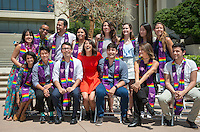 Families and friends gather for the Lavender Graduation celebration for the class of 2016 at the patio between Johnson and Fowler Halls on May 13, 2016.<br />