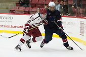 Adam Fox (Harvard - 18), Grant Mismash (NTDP - 16) - The Harvard University Crimson defeated the US National Team Development Program's Under-18 team 5-2 on Saturday, October 8, 2016, at the Bright-Landry Hockey Center in Boston, Massachusetts.