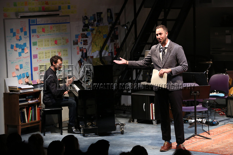 Oliver Houser and Eric Micha Holmes during the 2018 Presentation of New Works by the DGF Fellows on October 15, 2018 at the Playwrights Horizons Theatre in New York City.