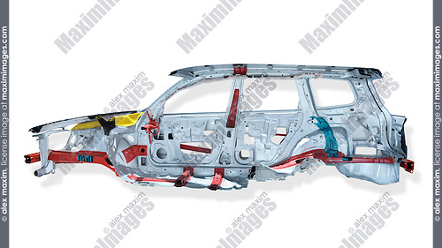 Cross section of 2009 Subaru Forester automobile body showing safety features, reinforced frame and air bags. Isolated with clipping path on white background.