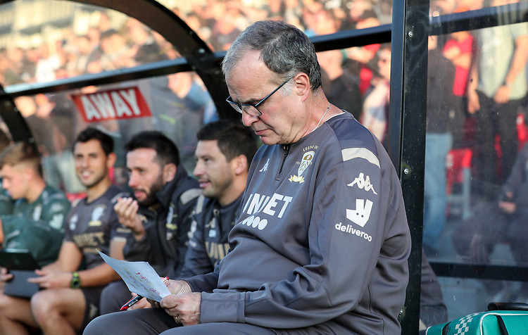 Leeds United manager Marcelo Bielsa <br /> <br /> Photographer Alex Dodd/CameraSport<br /> <br /> The Carabao Cup First Round - Salford City v Leeds United - Tuesday 13th August 2019 - Moor Lane - Salford<br />  <br /> World Copyright © 2019 CameraSport. All rights reserved. 43 Linden Ave. Countesthorpe. Leicester. England. LE8 5PG - Tel: +44 (0) 116 277 4147 - admin@camerasport.com - www.camerasport.com