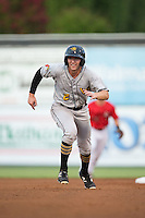 Jordan George (2) of the West Virginia Power takes off for third base during the game against the Kannapolis Intimidators at Kannapolis Intimidators Stadium on August 20, 2016 in Kannapolis, North Carolina.  The Intimidators defeated the Power 4-0.  (Brian Westerholt/Four Seam Images)
