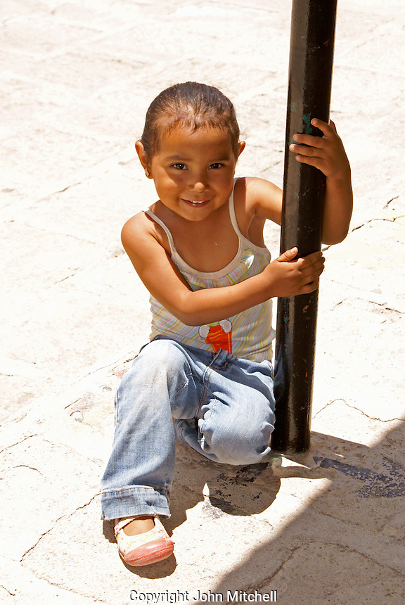 Mexican girl in the 19th century mining town of Mineral de Pozos, Guanajuato, Mexico.