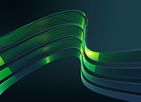 Abstract curved green stripes