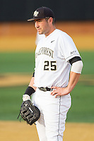 Wake Forest Demon Deacons first baseman Matt Conway (25) on defense against the Maryland Terrapins at Wake Forest Baseball Park on April 4, 2014 in Winston-Salem, North Carolina.  The Demon Deacons defeated the Terrapins 6-4.  (Brian Westerholt/Four Seam Images)