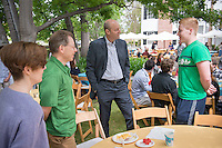 Oxy President Jonathan Veitch talks with Dexter Kodat and his family. Graduating seniors and their families and friends attend Brunch with President Jonathan Veitch at Collins House, May 16, 2015. (Photo by Marc Campos, Occidental College Photographer)