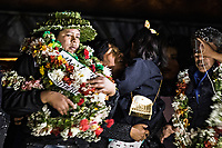 La Paz, Bolivia<br /> Thursday November 14, 2019.<br /> Franclin Gutierrez, (left), leader of the coca growers from the Yungas celebrates with his family and other coca growers in La Paz after he had been release from prison after 15 moths.  After the October 20 presidential elections and resignation of President Evo Morales, there is a lot of protests in many regions of Bolivia.