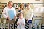 Marking the wonderful collection of works by local poet, Michael Dan O'Shea at Cahersiveen Library is in front his niece, Mary Sheehan and back L-R close friend, .Christy  O'Connell, his gran niece Bridget Sheehan, his great-gran nephew, Fionn Houlihan, and Librarian Noreen O'Sullivan.