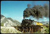 D&amp;RGW #493 with excursion train on a trestle.<br /> D&amp;RGW