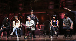 """Jennie Harney, Eliza Ohman, Ryan Vasquez, David Guzman, Karla Garcia and Zelig Williams from the 'Hamilton' cast during a Q & A before The Rockefeller Foundation and The Gilder Lehrman Institute of American History sponsored High School student #EduHam matinee performance of """"Hamilton"""" at the Richard Rodgers Theatre on June 6, 2018 in New York City."""