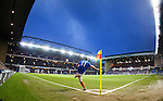 Lewis MacLeod launches a corner kick into the box