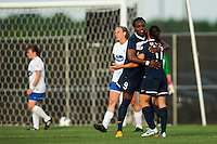 Sky Blue FC forward Danesha Adams (9) celebrates scoring with forward Lisa De Vanna (11). Sky Blue FC defeated the Boston Breakers 5-1 during a National Women's Soccer League (NWSL) match at Yurcak Field in Piscataway, NJ, on June 1, 2013.