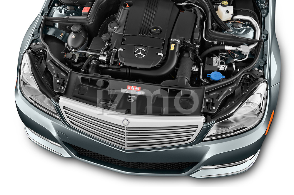 High angle engine detail of a  2014 Mercedes C Class Luxury