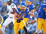 BROOKINGS, SD - SEPTEMBER 26:  Brady Mengarelli #44 from South Dakota State breaks through the line against Robert Morris in the first quarter Saturday evening at Coughlin Alumni Stadium.  (Photo by Dave Eggen/Inertia)