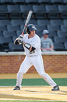 Garrett Kelly (28) of the Wake Forest Demon Deacons at bat against the High Point Panthers at Wake Forest Baseball Park on April 2, 2014 in Winston-Salem, North Carolina.  The Demon Deacons defeated the Panthers 10-6.  (Brian Westerholt/Four Seam Images)
