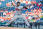 8 July 2017: Atlanta Braves pitcher Akeel Morris on the mound in relief against the Washington Nationals at Nationals Park in Washington, DC. The Braves shut out the Nationals 13-0 to take the third game of their 4-game series. Mandatory Credit: Ed Wolfstein Photo *** RAW (NEF) Image File Available ***