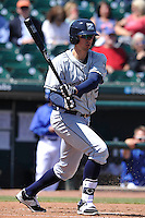 New Orleans Zephyrs Isaac Galloway (3) swings during the game against the Iowa Cubs  at Principal Park on April 13, 2016 in Des Moines, Iowa.  The Cubs won 9-5 .  (Dennis Hubbard/Four Seam Images)