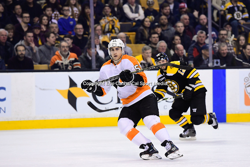 March 8, 2018: Philadelphia Flyers center Valtteri Filppula (51) in game action during the NHL game between the Philadelphia Flyers and the Boston Bruins held at TD Garden, in Boston, Mass. Boston defeats Philadelphia 3-2 in regulation time. Eric Canha/CSM