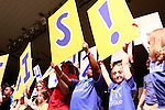 Participants and visitors celebrate after DanceBlue committee members reveal the total amount of money raised for DanceBlue on March 3, 2012 in Memorial Coliseum.