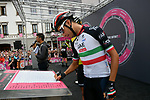 Italian National Champion Fabio Aru (ITA) UAE Team Emirates at sign on before the start of Stage 15 of the 2018 Giro d'Italia, running 156km from Tolmezzo to Sappada, Italy. 20th May 2018.<br /> Picture: LaPresse/Gian Mattia D'Alberto | Cyclefile<br /> <br /> <br /> All photos usage must carry mandatory copyright credit (&copy; Cyclefile | LaPresse/Gian Mattia D'Alberto)