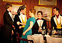 Posh by Laura Wade , directed by Lyndsey Turneron . With  Harry Lister as Ed Montgomery, Charlotte Lucas as Charlie, Joshua McGuire as Guy Bellingfield, . Henry Lloyd-Hughes as Dimitri Mitropoulos. Opens at The Duke of York's Theatre  23/5/12 .CREDIT Geraint Lewis