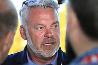 Darren Clarke speaking to the media aftert the presentation after the Singles matches at the Ryder Cup, Hazeltine National Golf Club, Chaska, Minnesota, USA.  03/10/2016<br /> Picture: Golffile | Fran Caffrey<br /> <br /> <br /> All photo usage must carry mandatory copyright credit (&copy; Golffile | Fran Caffrey)