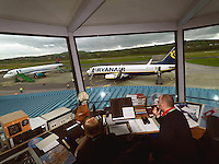 Traffic controllers deal with a Ryanair flight and a First Choice flight at Kerry Airport in Faranfore, County Kerry.<br /> Picture by Don MacMonagle