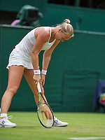 London, England, 2 July, 2016, Tennis, Wimbledon, Kiki Bertens (NED) is frustrated in her match against Simona Halep (ROU)<br /> Photo: Henk Koster/tennisimages.com