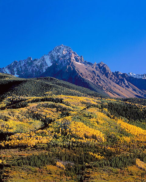 Mount Sneffels and autumn Aspen trees, Telluride, Colorado, USA John offers autumn photo tours throughout Colorado.