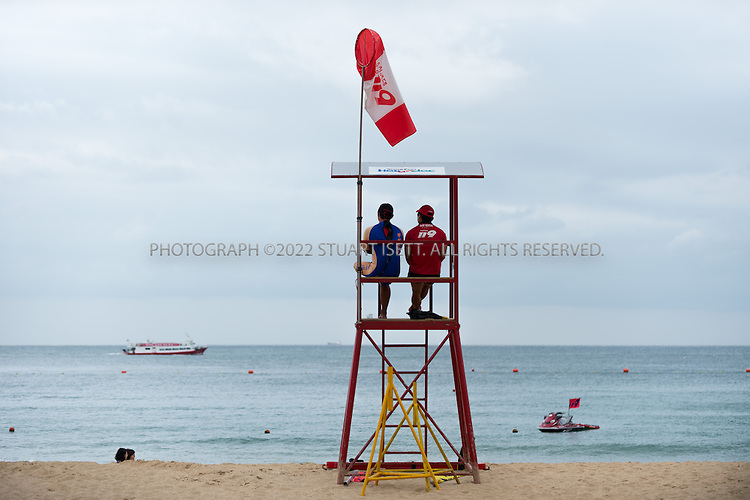9/3/2013--Busan, South Korea<br /> <br /> Life guards on Haeundae Beach in Busan (Pusan).<br /> <br /> Photograph by Stuart Isett<br /> &copy;2013 Stuart Isett. All rights reserved.
